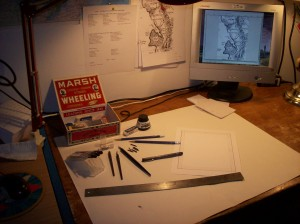 I draw at an antique library table. Mapping for me in an interesting mix of ancient and modern technologies. At one point, I'm drawing with a steel nibbed pen that I dip in India ink, the next I'm tweaking images on the computer.